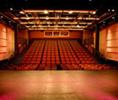 The interior of a large theatre with red seats