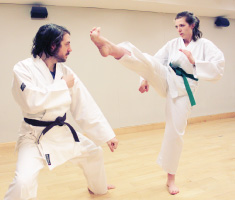 Two people in karate uniforms face each other and spar