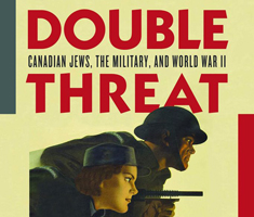 "A cropped book cover, text says ""double threat"" and there's a vintage looking illustration of a man and a woman, the men is holding a gun"