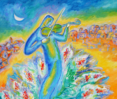 an abstract painting of a person playing a violin