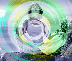 A woman sits and meditates, there is a layer of swirly green and blue superimposed in front of her.